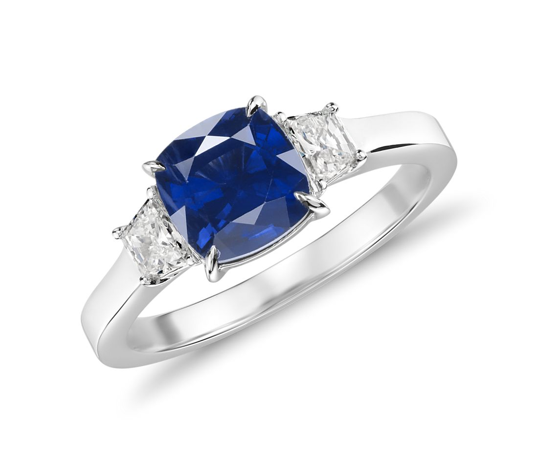 Sapphire and Diamond Three-Stone Ring in 18k White Gold (1.84 ct.)