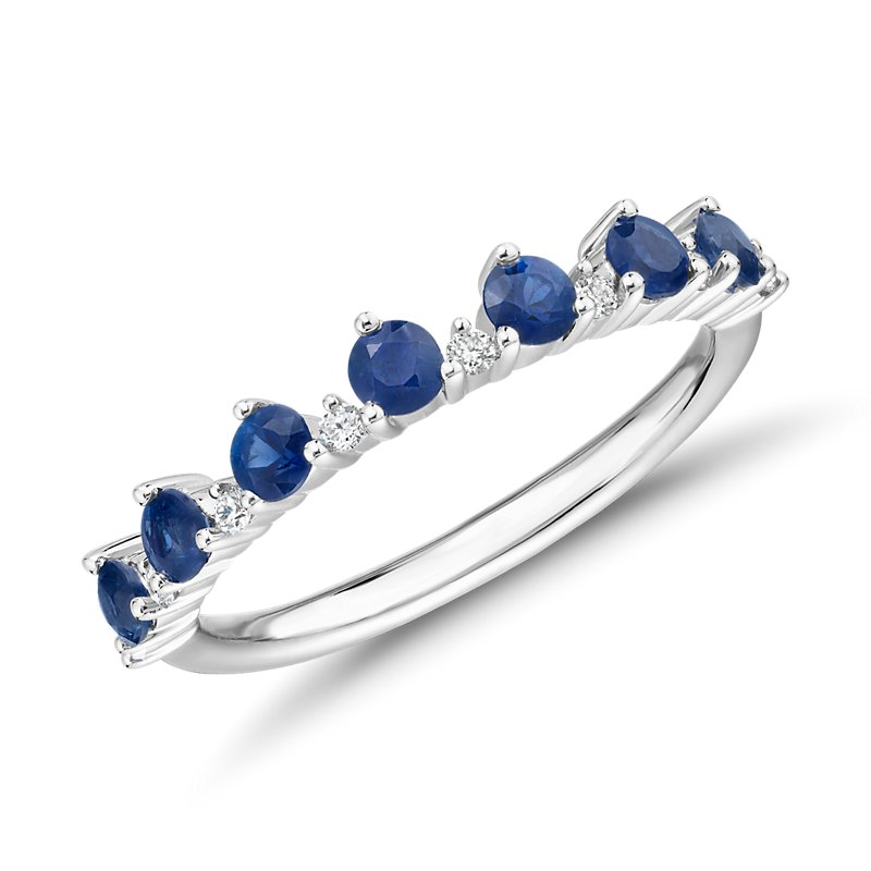 Sapphire and Diamond Tiara Stacking Ring in 14k White Gold (2.5mm