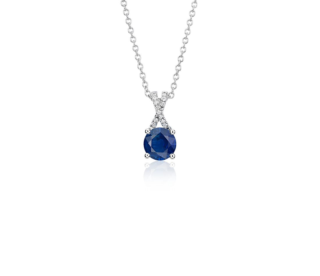 Sapphire and Diamond Twist Pendant in 14k White Gold (5mm)