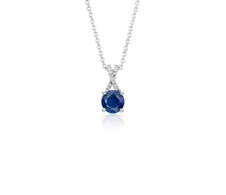 Sapphire and Diamond Twist Pendant in 14k White Gold