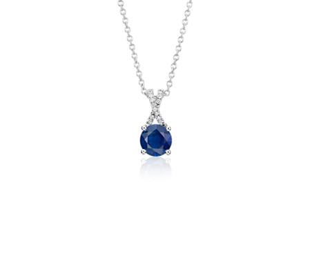 14k 白金蓝宝石与钻石扭纹吊坠