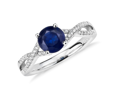 Sapphire and Diamond Twist Ring in 14k White Gold (6mm)