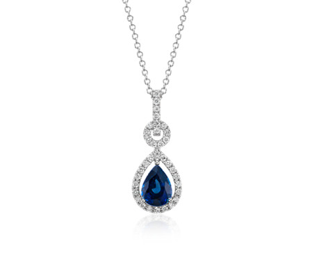 Floating Sapphire and Diamond Pear Pendant in 14k White Gold