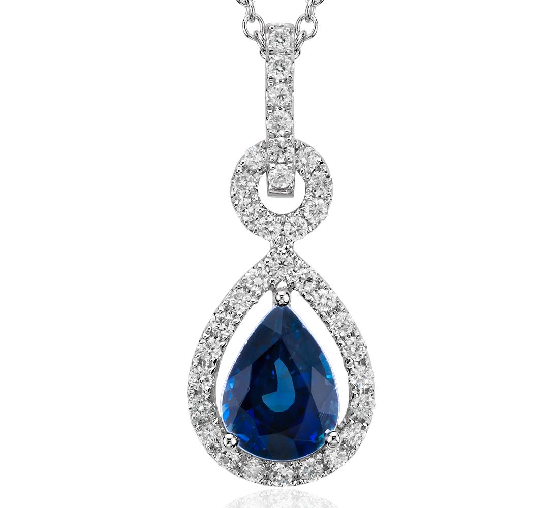 Colgante de diamantes y zafiro con forma de pera montado al aire en oro blanco de 14 k (8x6mm)