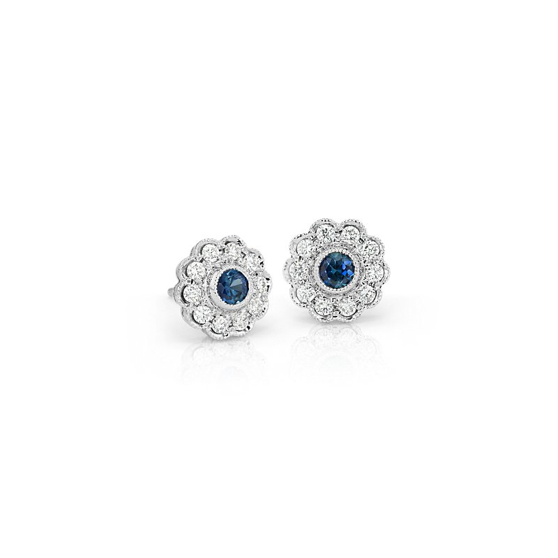 Sapphire and Diamond Vintage-Inspired Fiore Stud Earrings in 14k