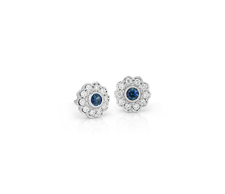 Sapphire and Diamond Vintage-Inspired Fiore Stud Earrings in 14k White Gold (3mm)