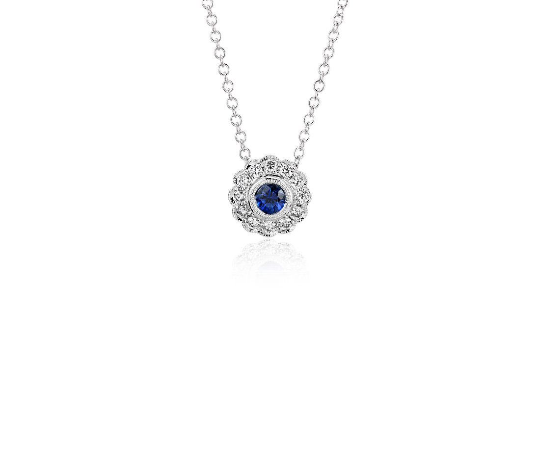 Sapphire and Diamond Vintage-Inspired Fiore Pendant in 14k White Gold (3.5mm)