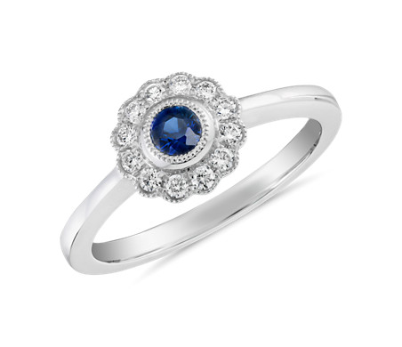 Sapphire and Diamond Halo Vintage-Inspired Fiore Ring in 14k White Gold (3.5mm)