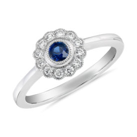NEW Sapphire and Diamond Vintage-Inspired Fiore Ring in 14k White Gold (3.5mm)
