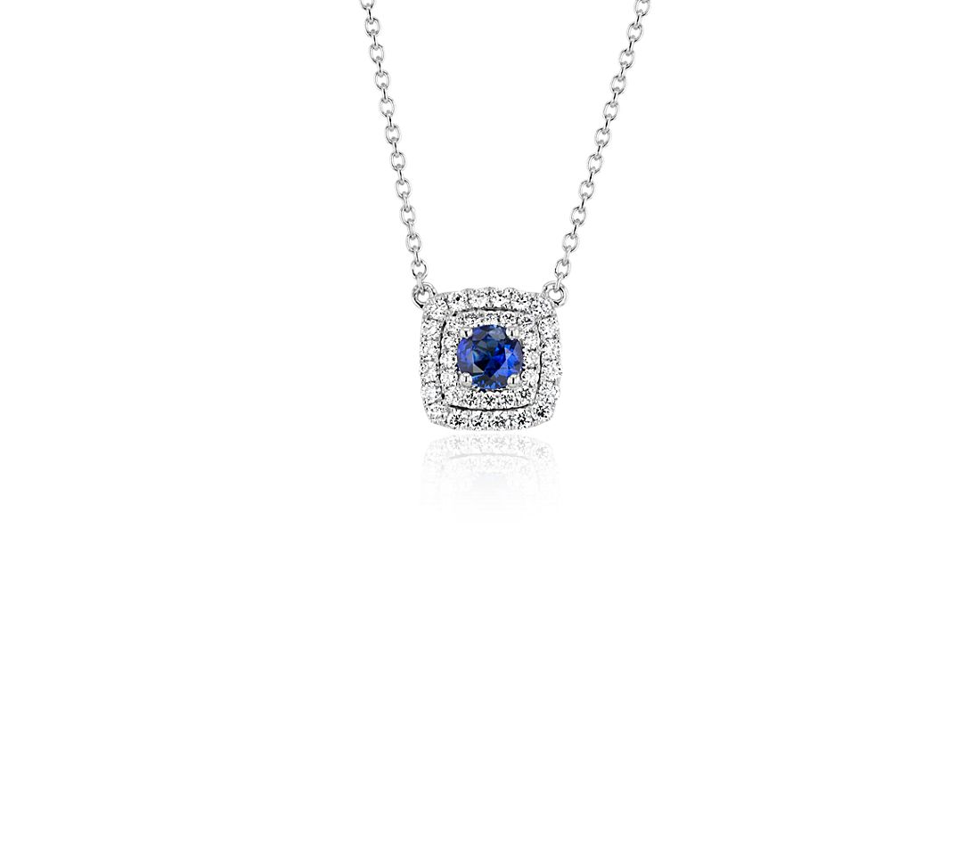 Sapphire and Double Diamond Halo Necklace in 14k White Gold (4mm)