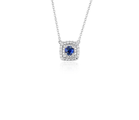 Collier double halo diamant et saphir bleu en or blanc 14 carats (4 mm)