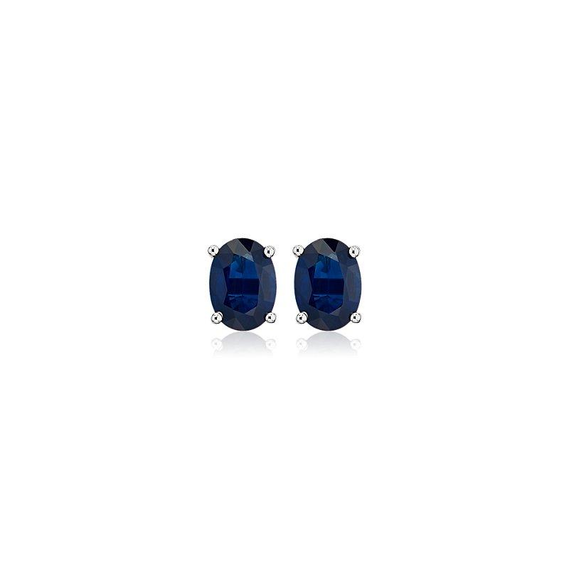 Oval Sapphire Stud Earrings in 18k White Gold (7x5mm)