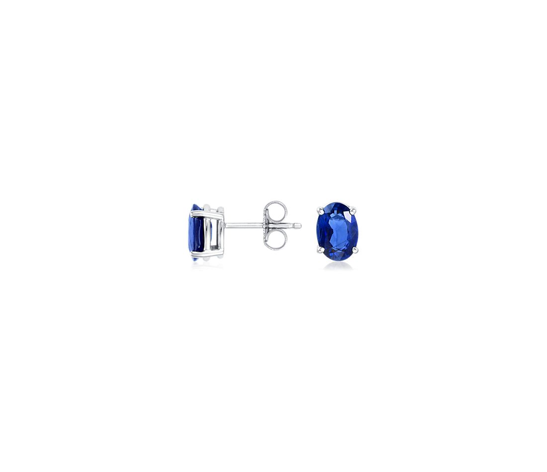 Oval Sapphire Stud Earrings in 18k White Gold (7x5mm)
