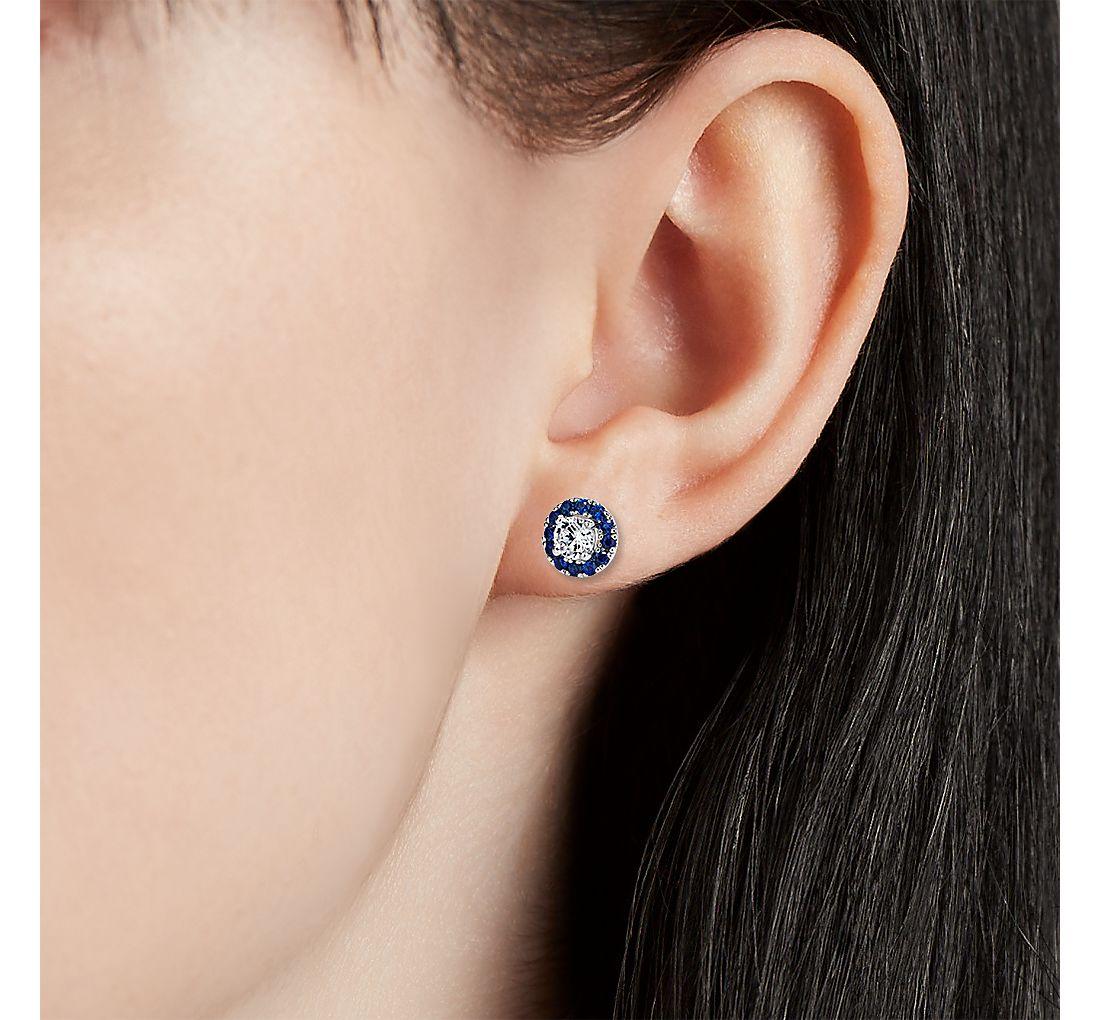 0.50 克拉总重量主石蓝宝石光环耳环镶托14k 白金(钻石)