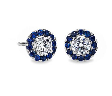 Sapphire Halo Earring Setting in 14k White Gold (for 0.50ct tw center diamonds)