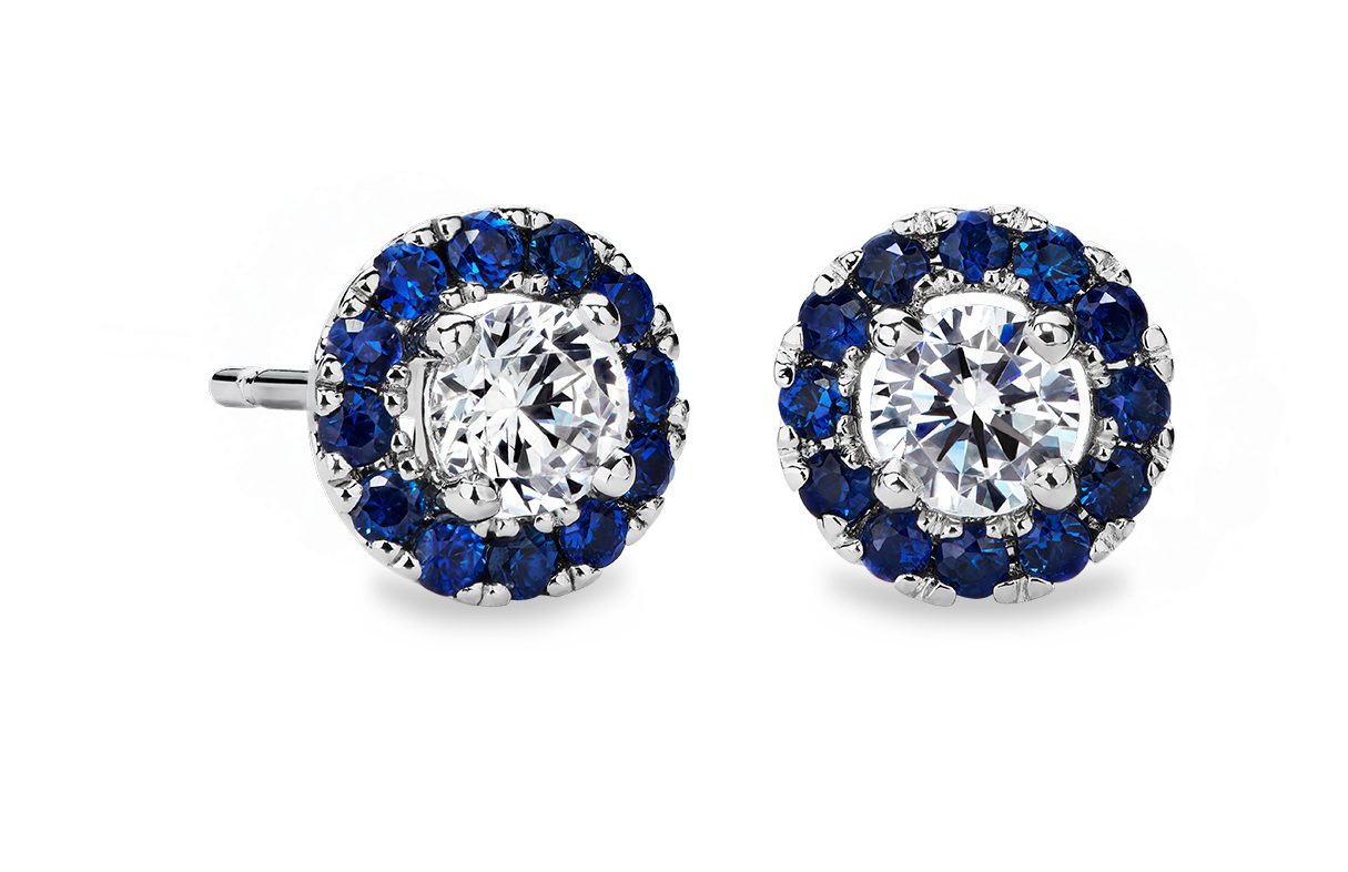 Sapphire Halo Earring Setting in 14k White Gold (for 1ct tw center diamonds)