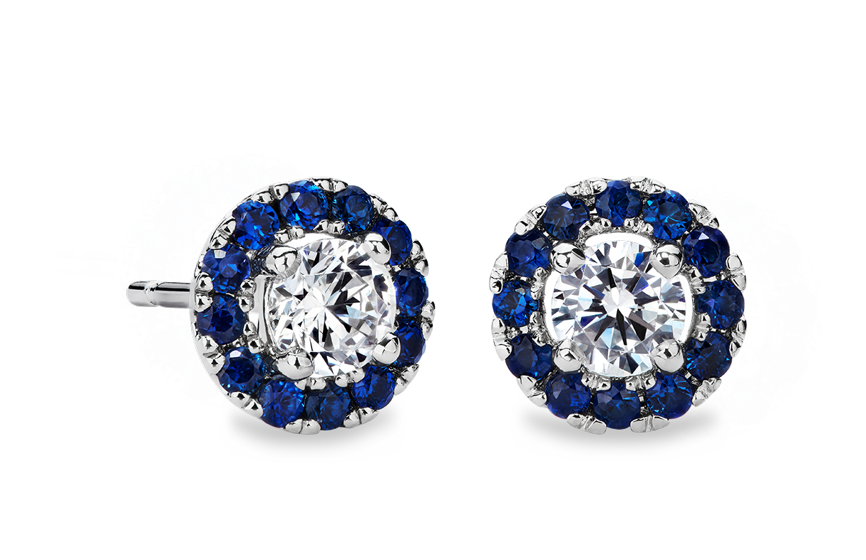 Sapphire Halo Earring Setting in 14k White Gold (for 1ct tw centre diamonds)