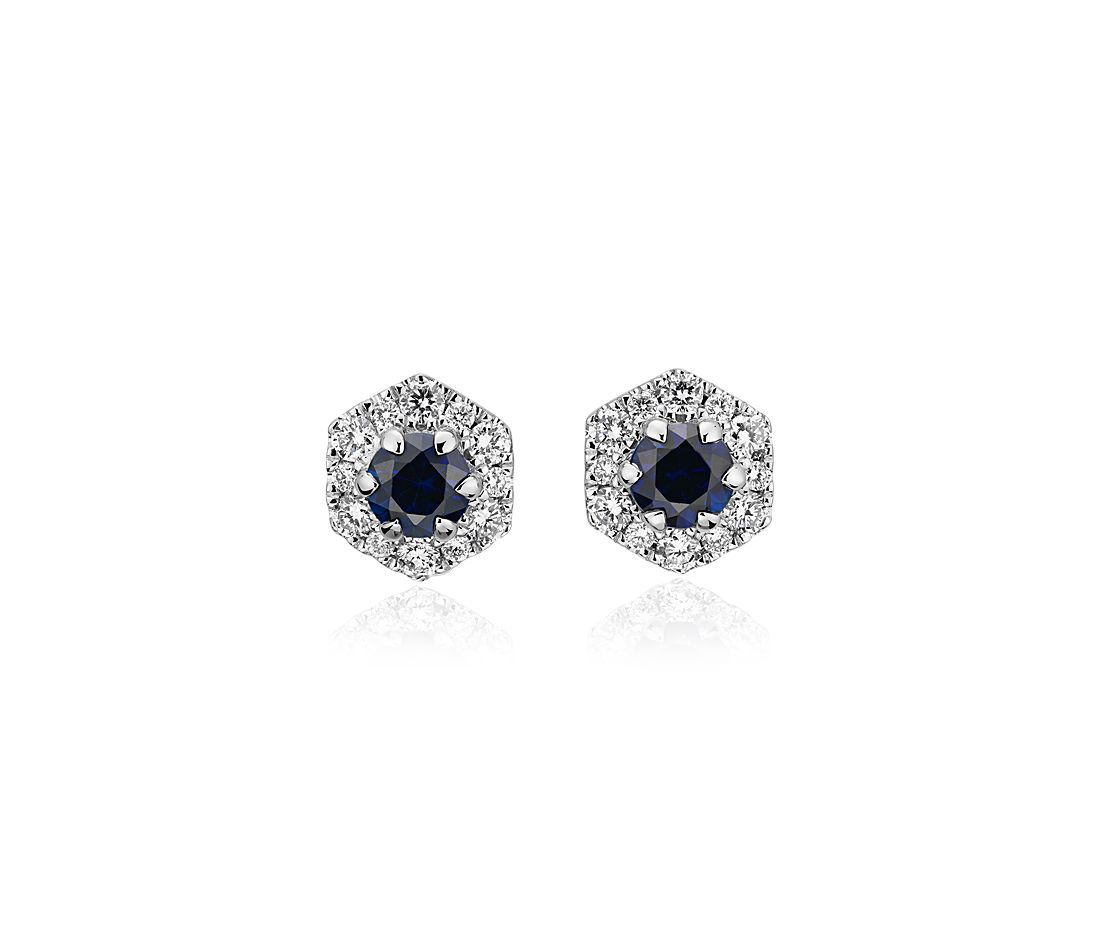Sapphire Stud Earrings with Hexagon Diamond Halo in 14k White Gold