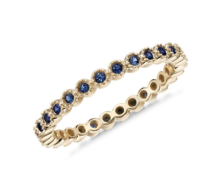 ct anniversary gold band ring bands womens blue sapphire eternity white diamond