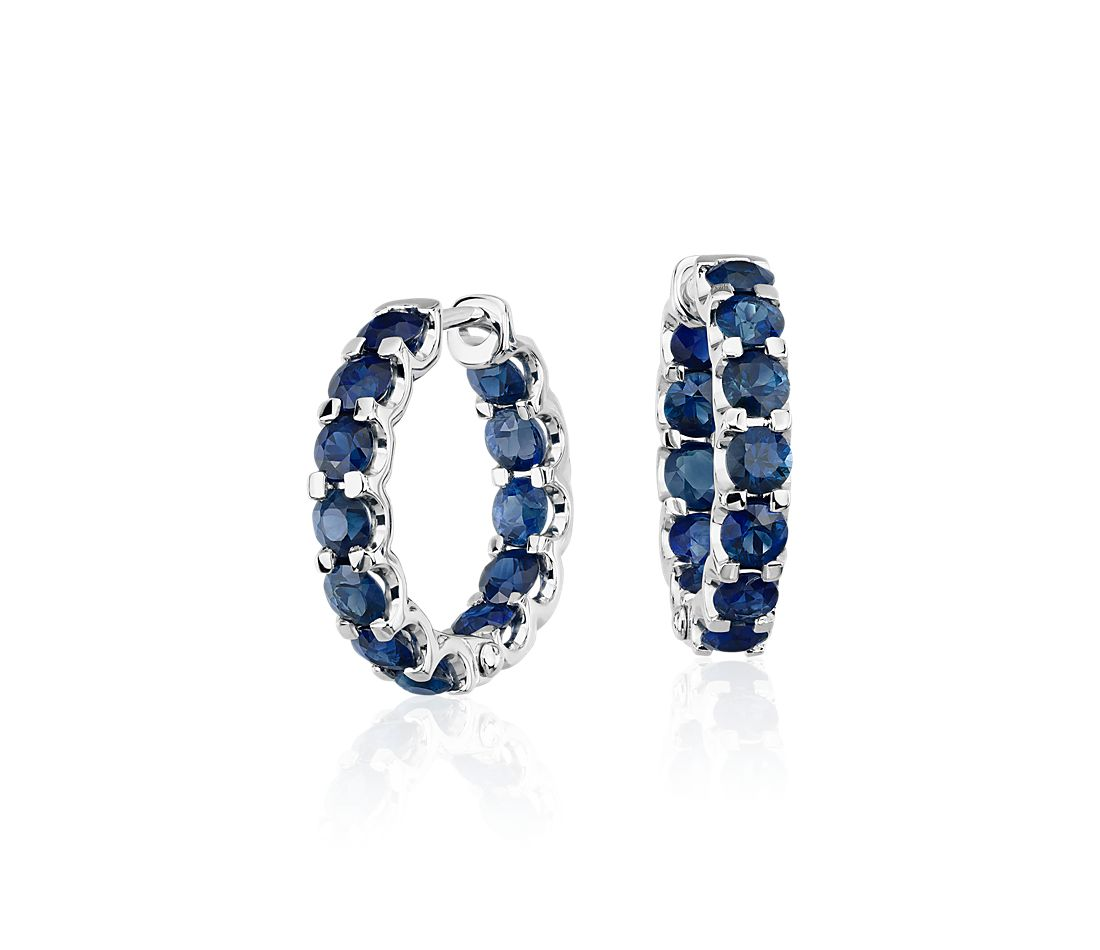 Sapphire Hoop Earrings in 14k White Gold 3mm