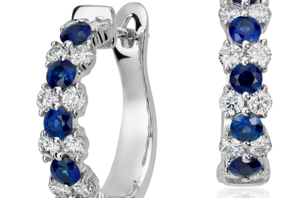Sapphire and Diamond Garland Hoop Earrings in 18k White Gold (2.8mm)