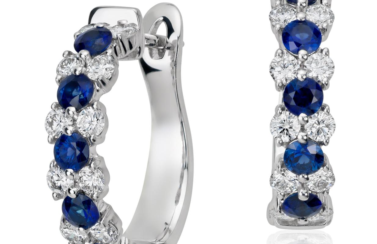 Créoles guirlande diamant et saphir bleu en or blanc 18carats (2,8mm)