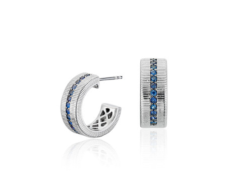 Sapphire Strie Huggie Hoop Earrings in Sterling Silver