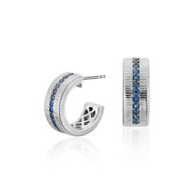 Frances Gadbois Sapphire Strie Huggie Hoop Earrings in Sterling Silver