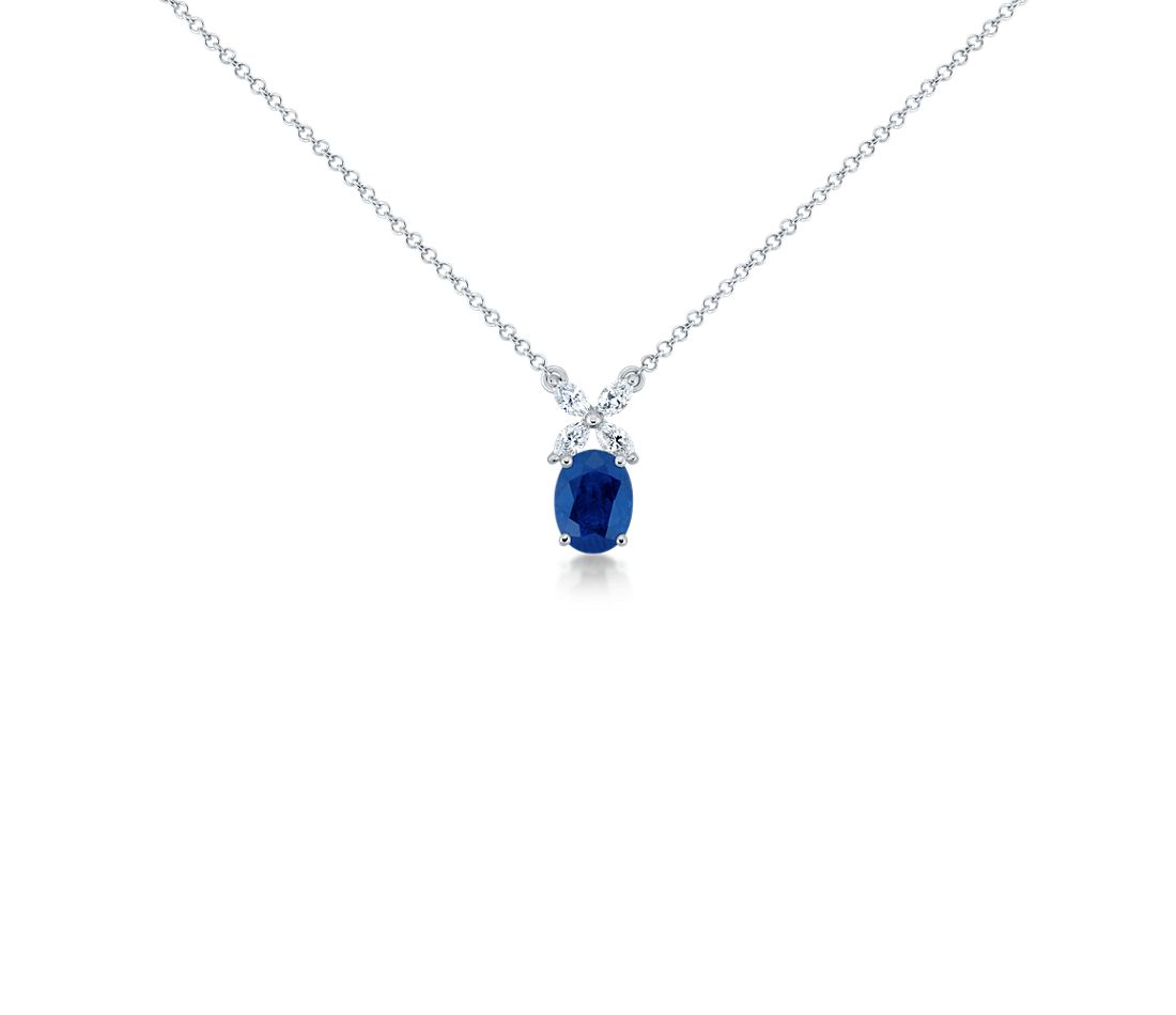Sapphire and Marquise Diamond Pendant in 18k White Gold (8x6mm)