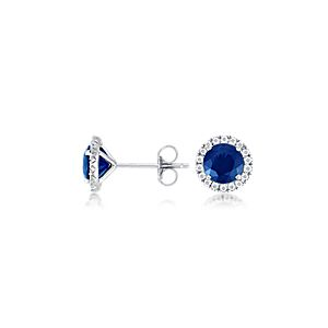 Micropavé Diamond and Sapphire Stud Earrings in 18k White Gold (6mm)