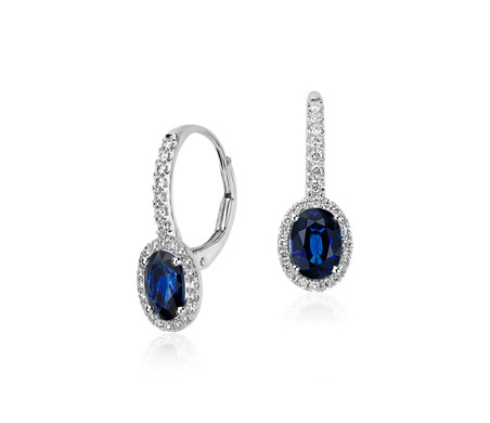 Sapphire and Micropavé Diamond Halo Drop Earrings in 14k White Gold (7x5mm)