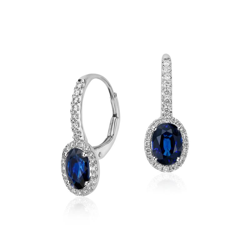Sapphire and Micropavé Diamond Halo Drop Earrings in 14k W