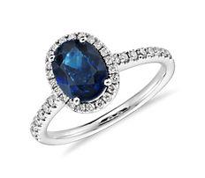 14k 白金藍寶石微密釘鑽石戒指(8x6毫米)