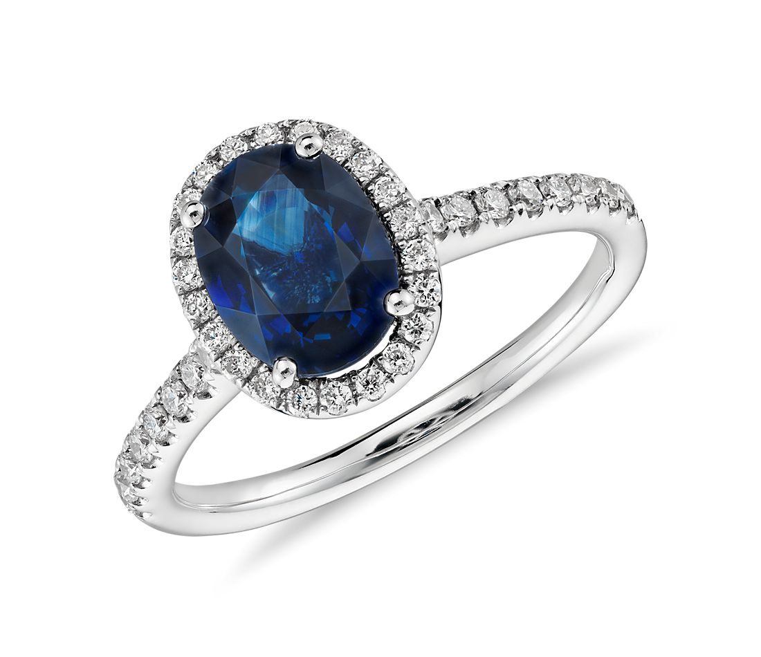 Sapphire and Micropavé Diamond Halo Ring in 14k White Gold 8x6mm