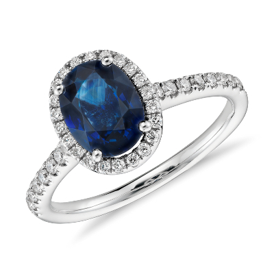 Sapphire and Micropav Diamond Halo Ring in 14k White Gold 8x6mm
