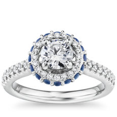 Hidden Sapphire Halo Diamond Engagement Ring in Platinum