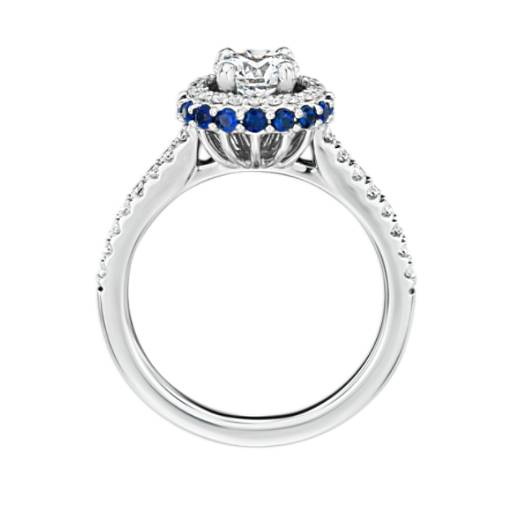 Hidden Sapphire Halo Diamond Engagement Ring