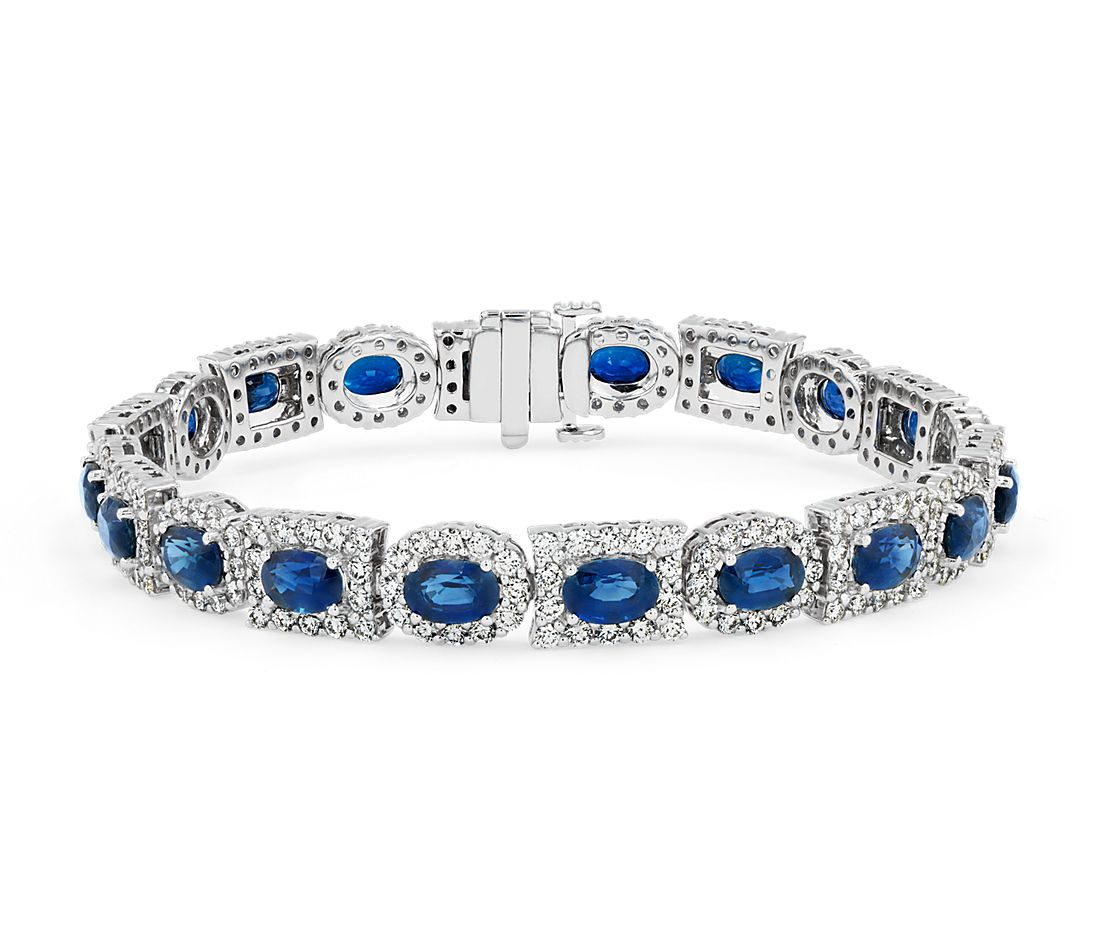 Sapphire Oval and Diamond Mixed-Shaped Halo Eternity Bracelet in 18k White Gold