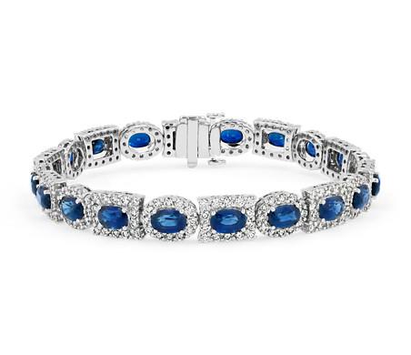 18k 白金椭圆蓝宝石与多种形状钻石光环永恒手链