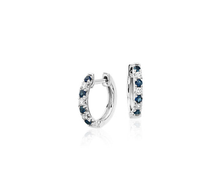 Petite Sapphire and Diamond Pavé Huggie Hoop Earrings in 14k White Gold (1.9mm)