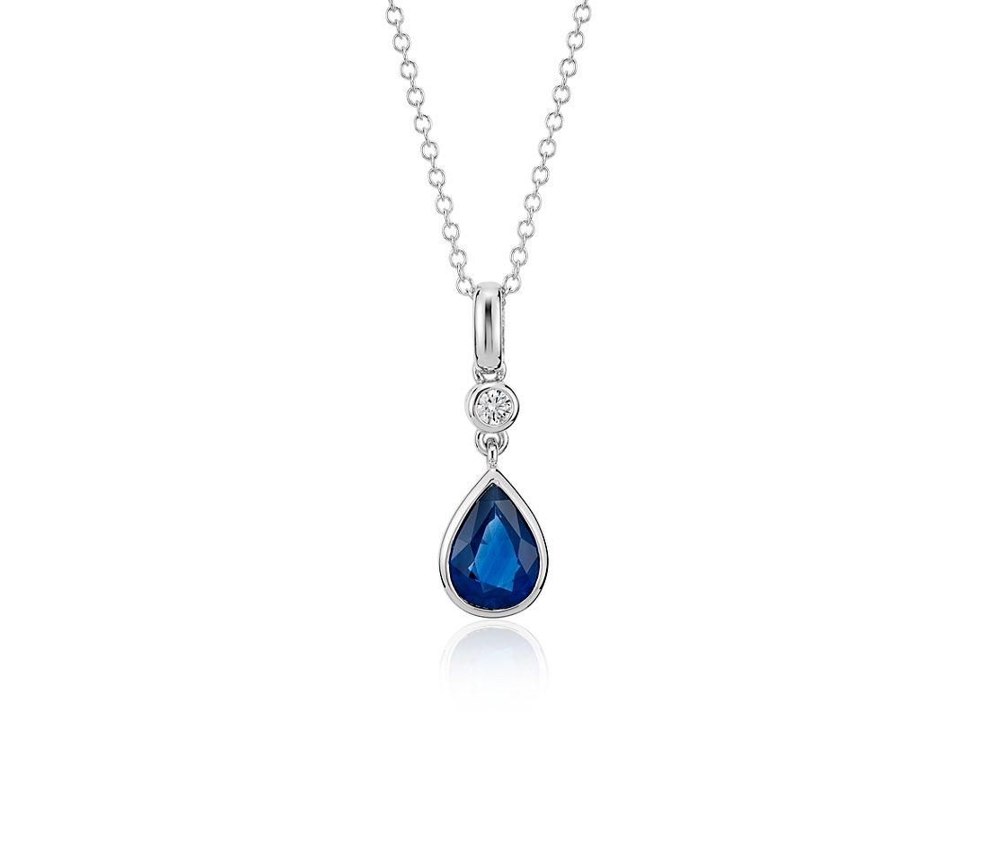 Sapphire and Diamond Pear Bezel-Set Pendant in 14k White Gold (8x6mm)