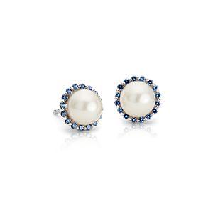 Puces d'oreilles halo perle de culture d'eau douce et saphirs en or blanc 14carats (7mm)