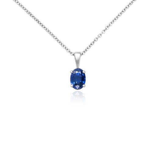 Oval Solitaire Sapphire Pendant In 18k White Gold 7x5mm