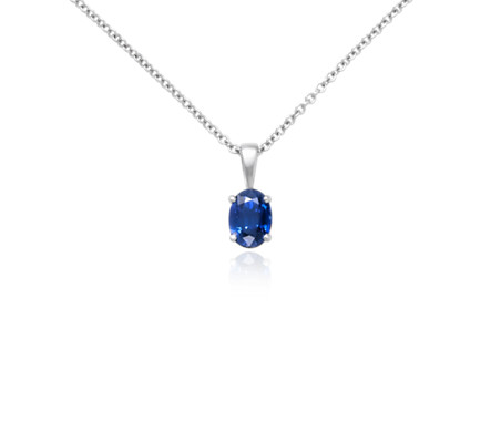 Oval Solitaire Sapphire Pendant in 18k White Gold (7x5mm)