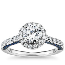 Sapphire Profile and Diamond Halo Engagement Ring in 14k White Gold (1/2 ct. tw.)