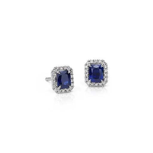 Radiant Sapphire And Diamond Stud Earrings In 14k White