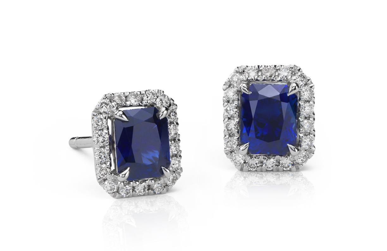 Aretes de diamante y zafiro en oro blanco de 14 k (5x4mm)