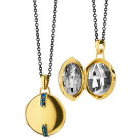 Monica Rich Kosann Sapphire Round Locket in 18k Yellow Gold