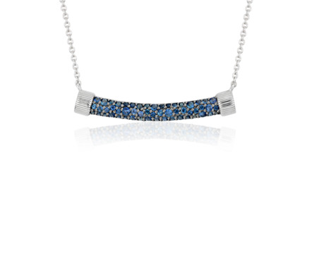 Frances Gadbois Sapphire Strie Smile Bar Necklace in Sterling Silver