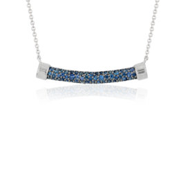 Frances Gadbois Sapphire Strie Smile Necklace in Sterling Silver